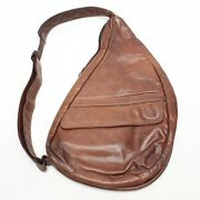 Ameribag The Healthy Back Bag Mens Womens Unisex Brown Leather Zip Made In Usa
