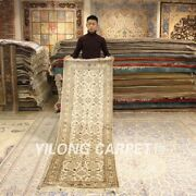 Yilong 2.5and039x8and039 Handknotted Silk Rug Runner Home Long Hallway Carpet 239ab