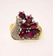 Solid 18k Gold Ruby Ring Womens Yellow Gold Cluster Bhs