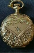 Antique Elgin 14k 3 Coloured Gold Ladies Pocket Watch With Central Diamond