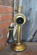 Antique Western Electric Brass Candlestick Telephone Phone