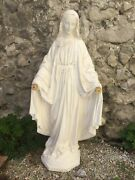 """40"""" French Statue Mary Our Lady Of Grace Plaster Church Antique Miraculous Medal"""