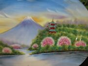Vintage Hand Painted Occupied Japan Mount Fuji Sky Blue And Pink Mountain Side