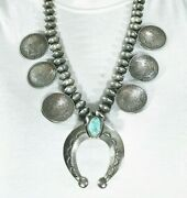 Vintage Morgan And Mercury Coin Sterling Silver Turquoise Squash Blossom Necklace