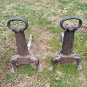Vintage Solid Cast Iron Fireplace Andirons / Fire Dogs
