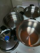 Cookworld T304s Surgical Steel 8 Qt Stockpot Dutch Oven Steamer Insert And Lid 5pc