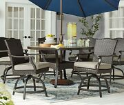 All Weather Wicker Balcony Height Outdoor Dining Set 7 Pc Table 6 Chairs
