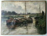 19th Century Impressionism Oil Painting Nautical Landscape Fisherman Barges