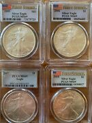 2005, 2006, 2007 And 2010 Silver Eagles 4 Coins Pcgs Ms69 Label