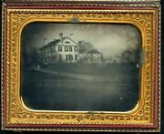 Half Plate Outdoor Daguerreotype Of House In Connecticut W/ Period Writing Case