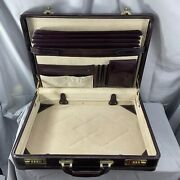 Vintage Mens Attache Briefcase Brown Leather Hard Case Business Tote