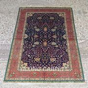 Yilong 4and039x6and039 Handmade Silk Carpet Home Indoor Floral Blue Area Rug Mc305a