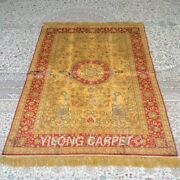 Yilong 4and039x6and039 Handknotted Silk Carpet Gold Vintage Antistatic Rugs Mc329b