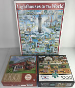 Lot Of 3 Charles Wysocki, White Mountain, Mb 1000 Piece Puzzles Counted Complete