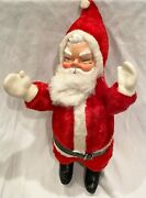 Vintage 1950's Santa Claus Rubber Face Plush Stuffed Doll Mittens Boots 19
