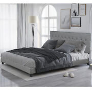 Upholstered Bed Linen Stitch Tufted Platform Beds With Slat King/queen/full Size