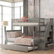 Twin Over Full Bunk Beds With Trundle Wood Bed Frame For Kids Bedroom Furniture