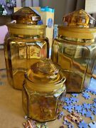 Set Of 3 Vintage Le Smith Amber Glass Paneled Canister Container Storage