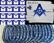 Masonic Blue Lodge Officer Chain Collar Jewels Apron Gloves Lot Of 12x4 - 507