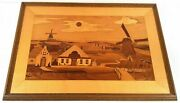 Marquetry Wood Inlay Picture Dutch Windmills Hp Vintage Handmade 54x79cm A022