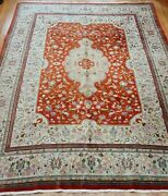10and039 X 13and039 Fine Tabrizz Hand-knotted Wool Birds Animals Oriental Rug Cleaned