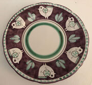 Vietri Campagna Chicken Italy Purple Border Green Dots Charger Service Plate