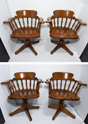 Set 4 Heywood Wakefield Windsor Captain Colonial Dining Chairs Maple Wood Swivel