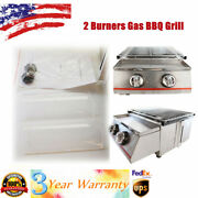 Portable Stainless Steel Bbq Tabletop 2 Burner Gas Grill Outdoor Camping Party