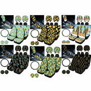11pcs Pineapple Car Seat Covers Combo With Coaster Steering Wheel Cover Full Set