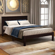 Wood Platform Beds With Headboard Twin/queen/full Size Bed Frame Us Stock