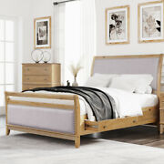 Upholstered Wood Storage Beds With 4 Drawers Queen/king Size Bed Frame Us Stock