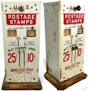 Vintage U.s. Postage Stamp Vending Machine 10, And 25 Cent Slots Machine With Key