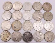 20x Peace Silver Dollars 12x1922 2x1923 1923d And 5x1923s 20-coins See Images