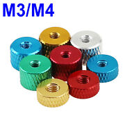 M3 M4 Knurled Thumb Nuts Thin Type Through Hole Hand Grip Knobs Alu Alloy Nut
