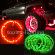 14 Double-sided Rgb Car Led Illuminated Wheel Ring Light Kit With Bt Controller