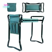 Garden Kneeler And Seat Bench Foldable Stool With Bag Pouch Portable Garden Tool