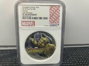 2018 Fiji 2oz Silver Coin Marvel Infinity War Thanos Ngc Pf70 First Releases+ogp