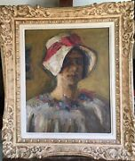 Antique Original French Post Impressionism Oil Painting Portrait Girl In A Hat
