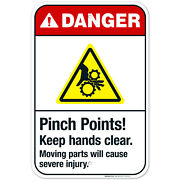 Pinch Points Keep Hands Clear Moving Parts Sign Ansi Danger Sign