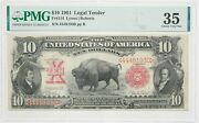 10 1901 Legal Tender Bison Note Fr114 Lyons/roberts Pmg 35 Choice Very Fine