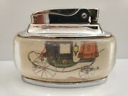 Vintage Working Ronson Trophy Table Lighter - Antique Carriage Horse Drawn Buggy