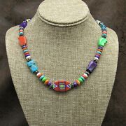 Beautiful Sterling Silver Multi Stone Inlay Necklace By Aldrich