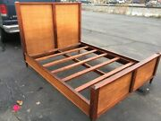 Antique Mid Century Full Size Cane Bed Frame