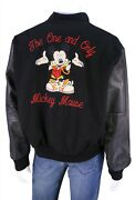Jerry Leigh Vintage 1990's Black Leather-wool Mickey Mouse Varsity Jacket 2xl