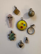 Lot Of 8 Vintage Necklace Pendant Abalone Sterling, Face, Art Glass, Crystal Etc