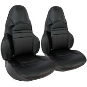 Fits 1997-2004 C5 Corvette Black Front Lh And Rh Seat Covers Sport Seats Leather