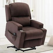 Power Lift Recliner Chair Elderly Breathable Fabric Heated Massage Cup Holders