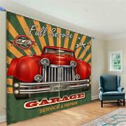 Red Old Car Wrench 3d Curtain Blockout Photo Printing Curtains Drape Fabric