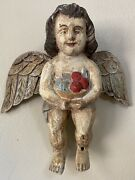 Vintage Hand Carved Angel - Wall Hanging Cherub With Fruit Wooden Sculpture