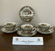 Johnson Brothers Friendly Village Ice House Flat Cup And Saucer England Set Of 4